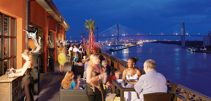 Savannah is full of great places to gaze, sip and snack while looking over the city.