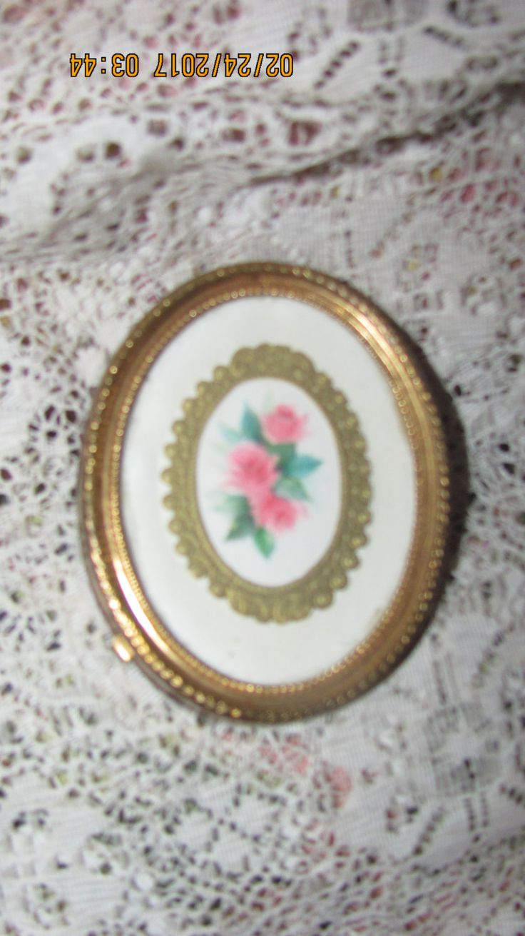 REDUCED Antique Miniature Gold Metal Framed Victorian Pink Roses Scrap Mini Oval Picture Frame by treasuretrovemarket on Etsy