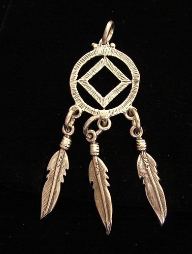Sterling Silver Narcotics Anonymous NA Symbol Dream Weaver Feather Pendant                                                                                                                                                                                 More