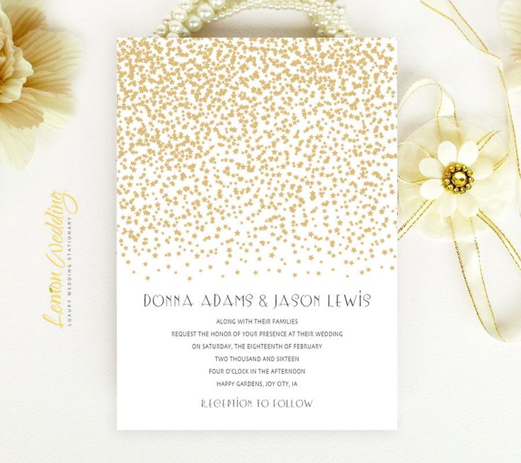 22 best wedding invitation and rsvp card pack images on pinterest gold wedding invitations gold stars wedding invite printed on luxury pearlescent paper cheap wedding invitations evening invitations filmwisefo