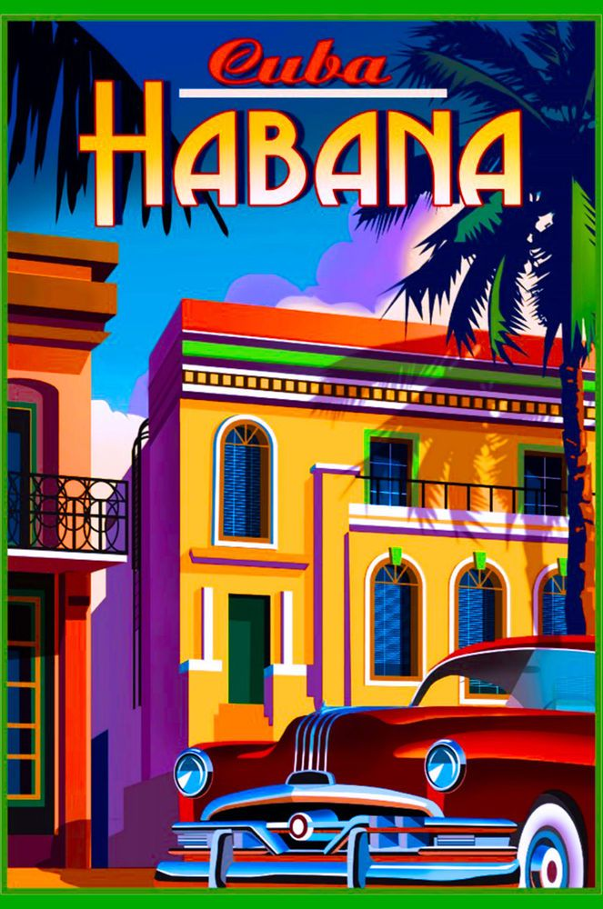 Cuba Cuban Havana Habana Island Caribbean Travel Art Advertisement Poster
