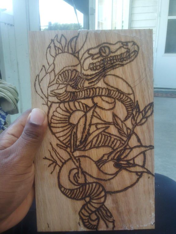 This Is My First One Using My Tattoo Artist Gf Drawing I Got Transfer Paper Printed It Then Got Ironed It Into The Wood In 2020 Tattoo Artists I Tattoo Transfer Paper