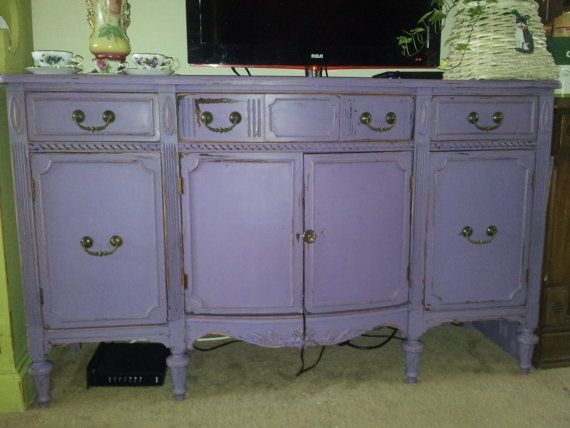purple antique shabby chic mahogany buffet hand painted