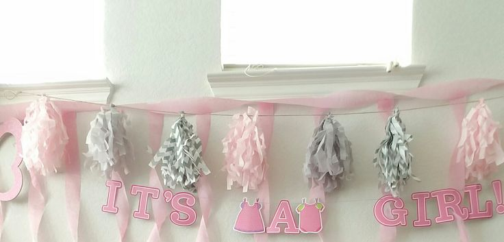 Just added streamers and shredded tissue paper on a string plus sign bought. Reused my decor from my baby shower. Flower tissue balls just against the wall fluff one side. 😄