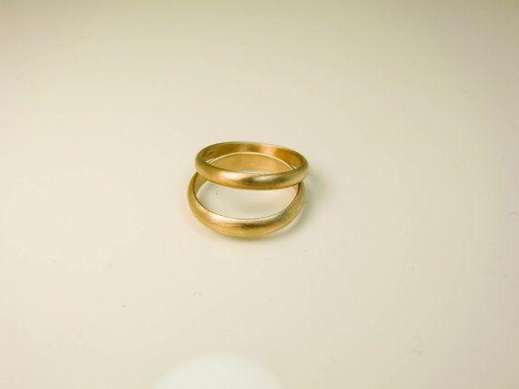 14 Karat Gold Eheringe Set zwei 14K Gold Ringe 4 von Lovethebugs
