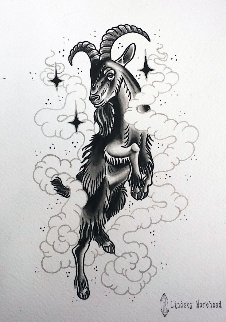"""""""Wouldst thou like to live deliciously?"""" -Black Phillip (The VVitch)  tattoo flash by Lindsey Morehead at Donovan's Autumn Moon Tattoo in Anaheim, CA"""