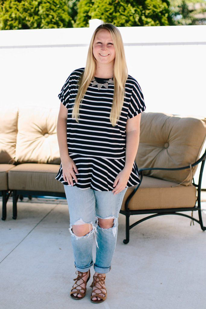 Comfy and cute, this relaxed striped top has a slouchy but classy look. Peplum hem brings a flirty and fun finish to this already adorable tee!  100% Polyester