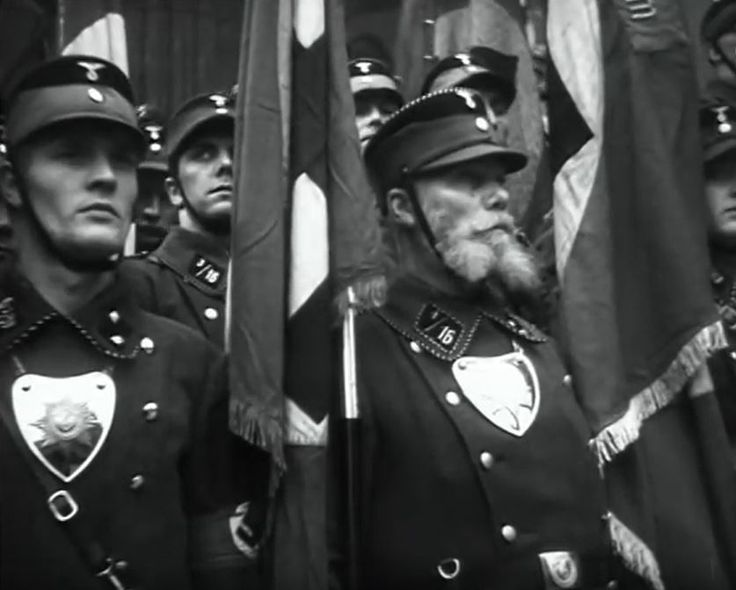 SA standard bearers in 1935. A brave grandpa is part of the gang.