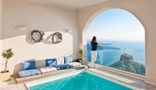 Gold Suites Santorini in Greece...I'm so in love..Baby Blue, Santorini Greece, Funny Pics, Favorite Places, Mornings Glories, The View, Dreams House, Home Decor, Pools