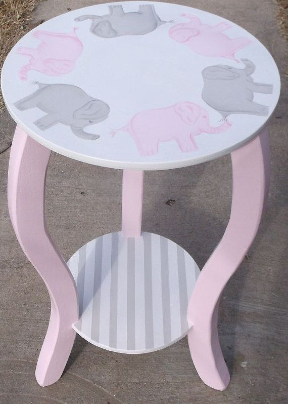 "Nursery Table 15"" Elephants Pink Gray KIDS WHITE Elephants Custom Round Night stand End Table Nursery Table ELEPHANTS  Baby Bedding Match"