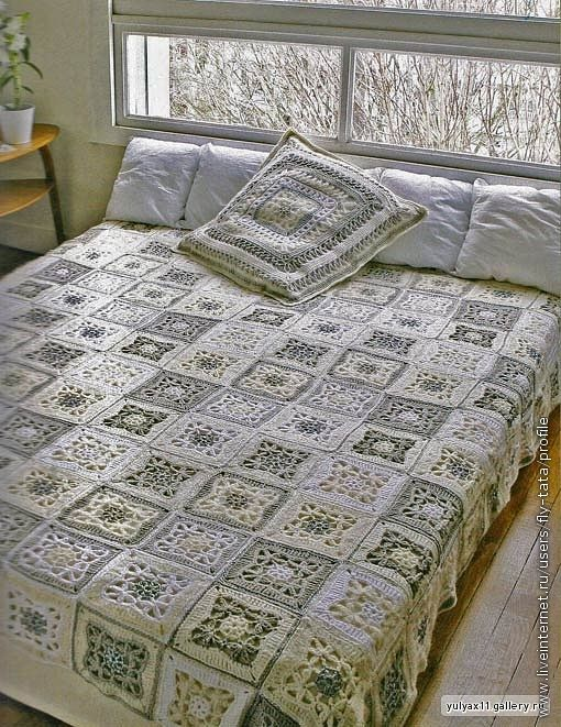 COLCHA PARA CAMA SQUARES: Crochet Blankets, Colors Combos, Granny Squares Blankets, Crochet Afghans, Crochet Granny Squares, Free Crochet,  Comforter,  Puff, Crochet Beds