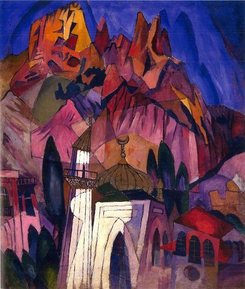 ...Aristarch Lentulov, Ancient castle in Crimea, 1916