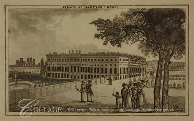 South east view of Hampton Court Palace, Middlesex, with figures in the foreground; Hampton is now in the London borough of Richmond upon Thames.    c1810