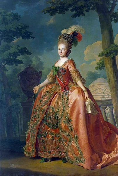 Portrait of Grand Duchess Maria Fjodorovna (at the age of 18) by Alexander Roslin, 1777.