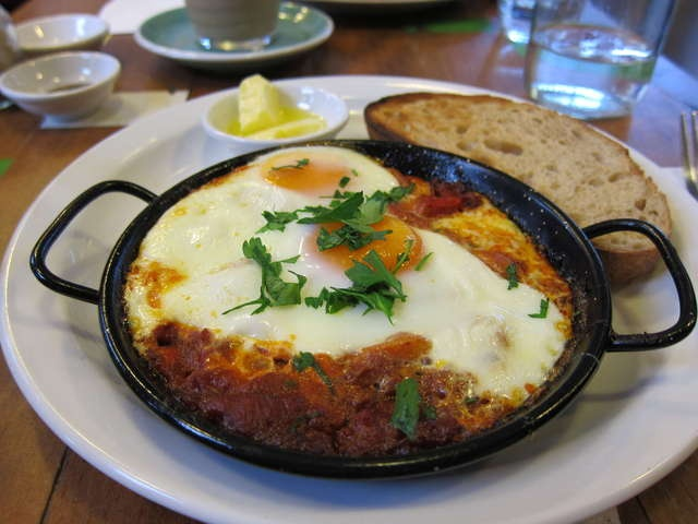 Baked eggs w/ Chorizo, Capsicum, and Tomato rago sauce- Footscray Milking Station, Footscray