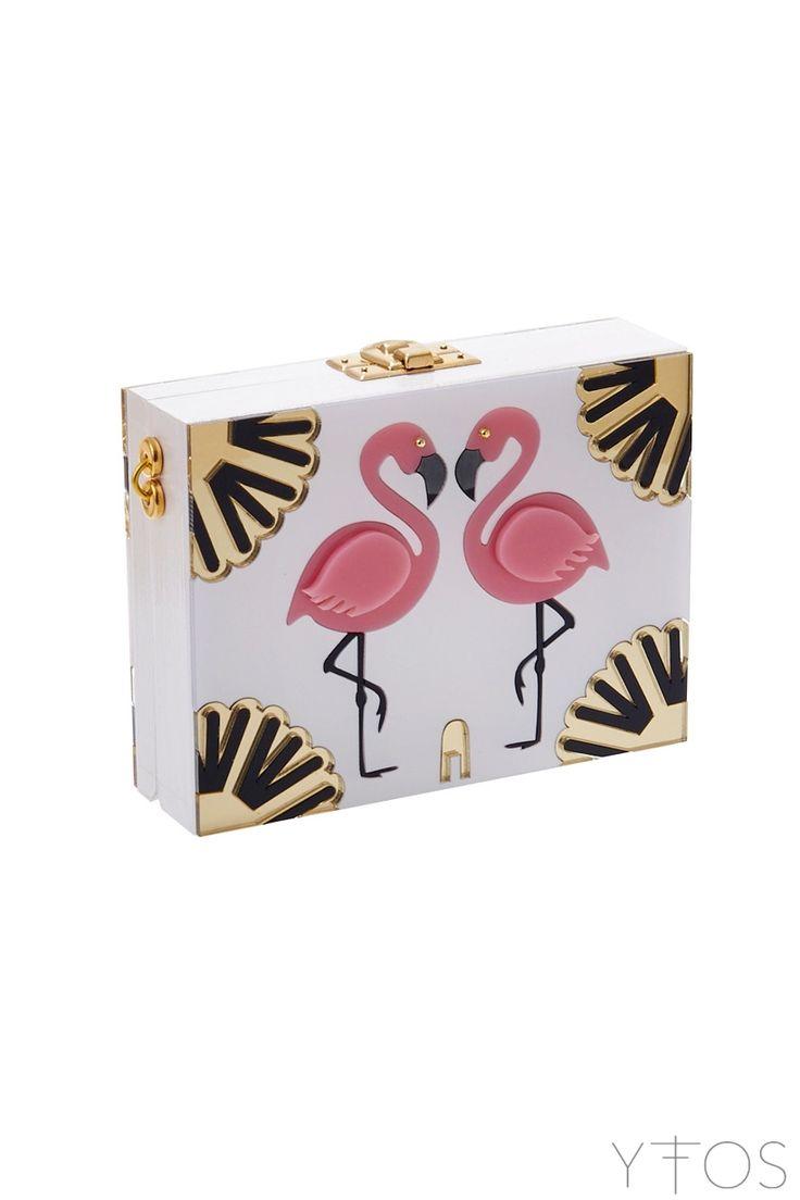 'Pink Flamingos' White Clutch Bag