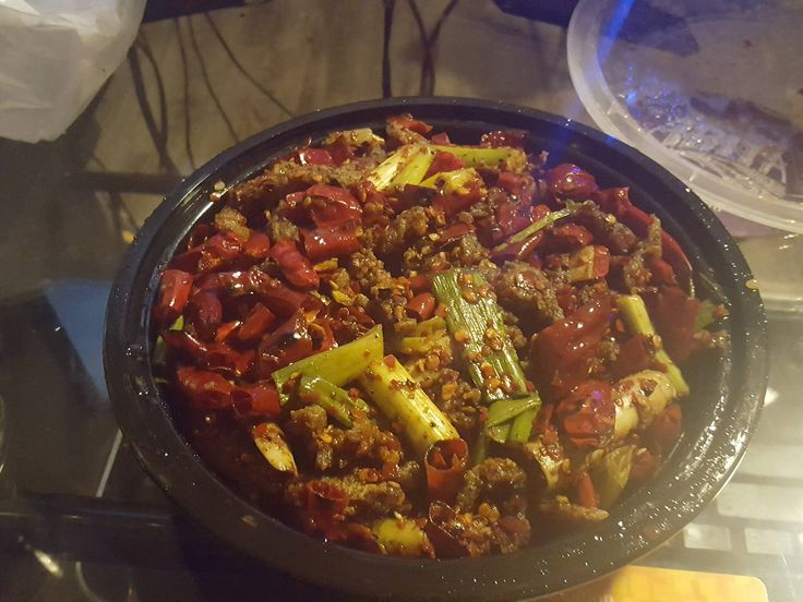 My local Chinese delivery does not mess around with spicy. The red is all chili peppers.
