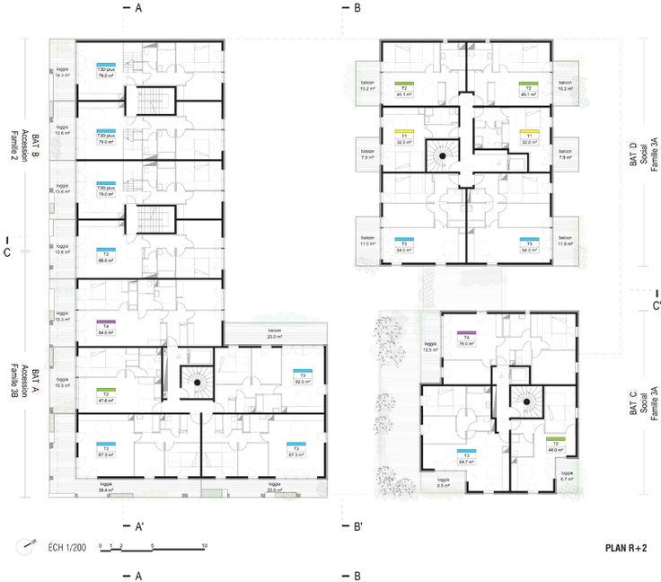 ECDM - Ensemble mixte ZAC de la Confluence, Lyon 10 plan r+2 J2 #appartementen
