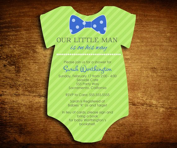 onesie bow tie die cut shower invitations