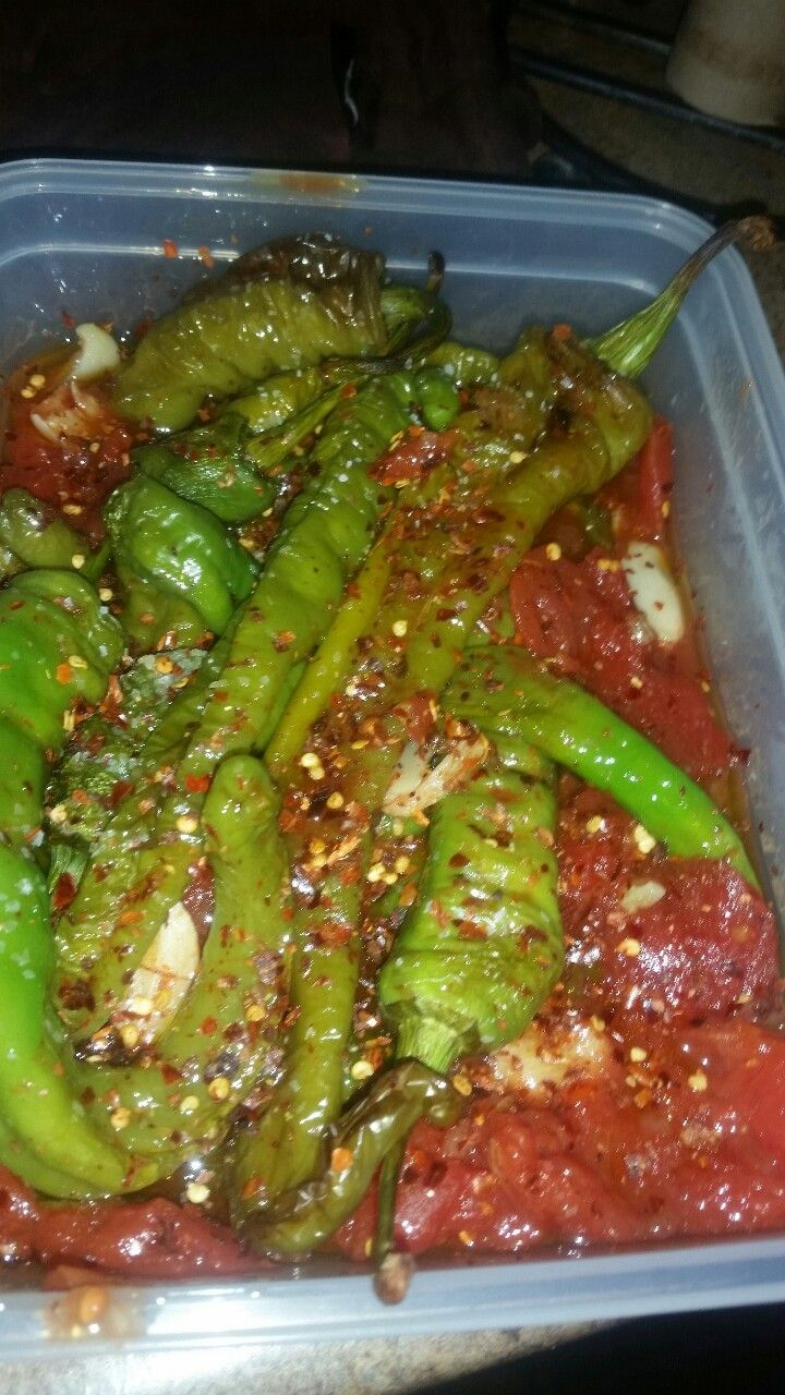 Extra Spicy Italian Long Hot Peppers Roasted With Garlic & Stewed Tomatoes. Long Hots (1 lb.), Garlic (6-7 cloves), Stewed Tomatoes (14 oz.), Kosher Salt (Dash), Olive Oil (Dash), Red Chili Flakes...