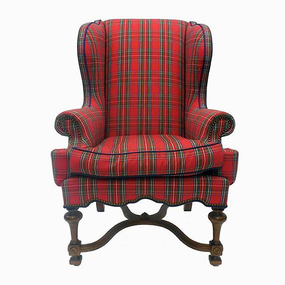 DIAMOND BARATTA Red Tartan Wing Chair