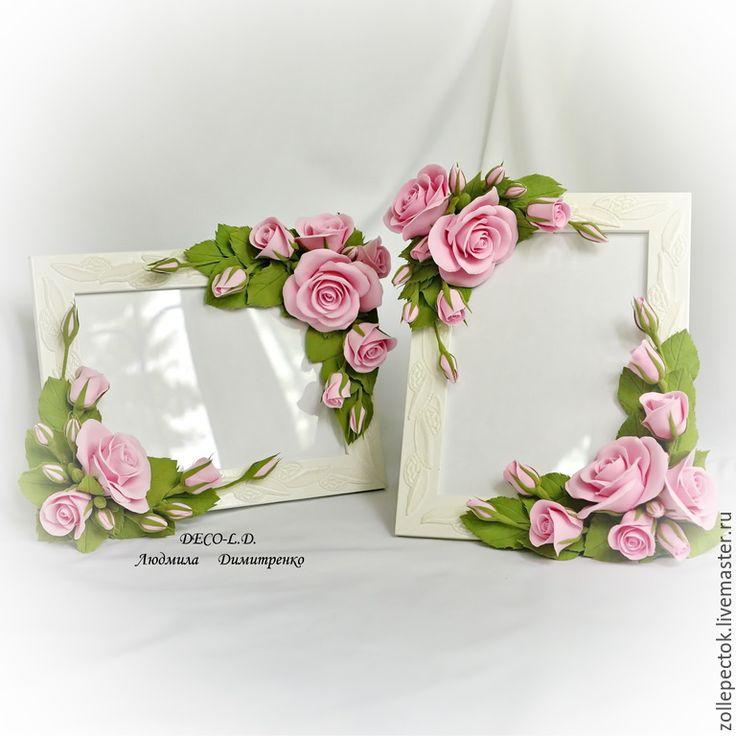 """Купить Свадебная фоторамка """"Розовый мотив"""" - розовый, фоторамка, фоторамка с цветами, свадебная фоторамка"""