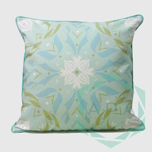 Inspired by the lotus flower, the design is characterised by a geometric print while a self-piped edge adds a neat finishing touch.  Lotus3green cushion comes in 2 sizes:  45x45= Rp. 350,000 60x60= Rp. 450,000  For inquiries email us apaproductionhouse@gmail.com
