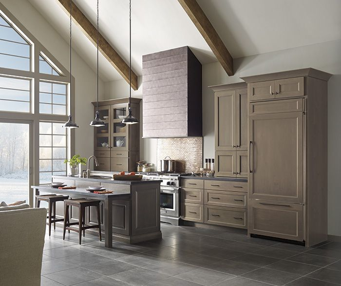 Gray Kitchen Cabinets With Island By Decora Cabinetry   Color Is Cliff On  Alder Wood, With Light Grain Showing Through. | Kitchen Ideas | Pinterest |  Grey ...