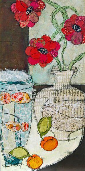 "GRATITUDE 48""x24"" Original Mixed Media Paper Collage on Stretched Canvas : Tablescapes : Judge Fine Art : Heather Judge"