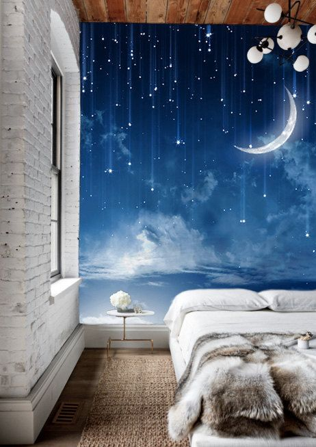 Moon Sky Removable Wallpaper Mysterious Moonlit Self Adhesive Wall Mural Starry Night Dark Blue Sky Painting Effect Navy Nature Peel Stick