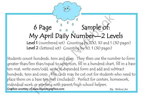 Free Sample April Daily Number from Melissa Joe on TeachersNotebook.com (6 pages)  -  Great place value and counting activities.  2 different levels! 6 page Free Sample of my April Daily Number which includes 60 pages--30 at each level.