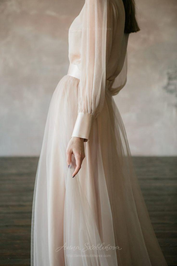 Beige Two piece wedding dress in vintage style - fashion - #Beige