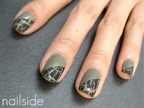 Shattered nail art using crackle polish. nails. manicure.