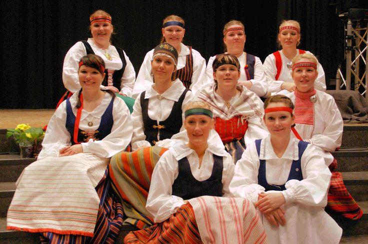 Finnish folk costumes, some Karelian.
