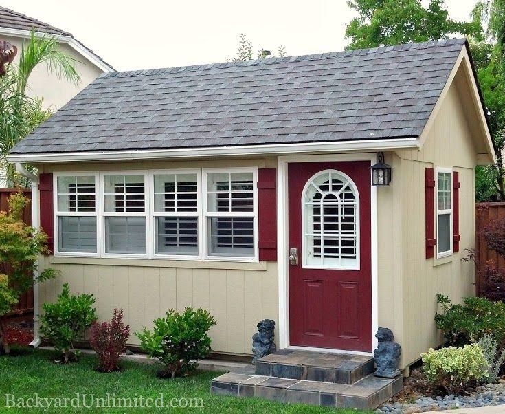 """10'x14' Garden Shed with 5--24""""x36"""" Vinyl Windows and 11-Lite Prehung Fiberglass Door, Union City, California, Amish made and installed by Backyard Unlimited http://www.backyardunlimited.com/sheds/garden-sheds"""
