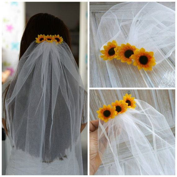 Bachelorette Veil Bridal Shower Veil Sunflower Party Accessory Headband Veil Sunflower Bride Party Rustic Sunflower Wedding