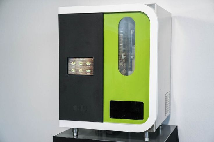 Introducing SALLY... a salad-making robot that is essentially a mobile salad maker with 21 ingredient canisters, and can customize over 1,000 salads ready in under a minute.  The robot can fit on a 30'x30' table, and is about the size of a mini fridge, making it particularly conducive to office environments.  Sally could work in hotels as an alternative to late-night room service, in airports as a way for travelers to eat healthy on the go (& avoid the dreaded airplane food).