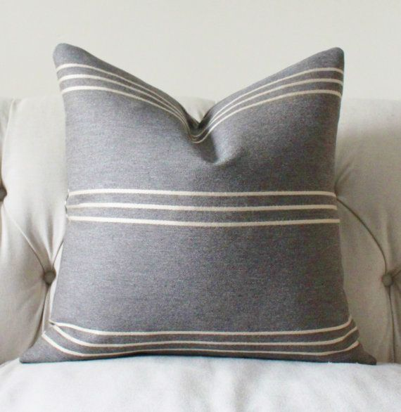 Throw Pillows Charcoal : Modern Grey Pillow - Charcoal Pillow - Grey Stripe Pillow Cover -Throw Pillow - Decorative ...