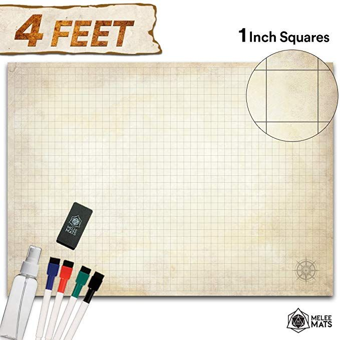 Battle Grid Game Mat Ultra Durable Polymer Material Role Playing Dnd Map Reusable Tabletop Square Mats Rpg Dungeons And Dragons Dry Erase Viny Grid Game Roleplay Dungeons And Dragons
