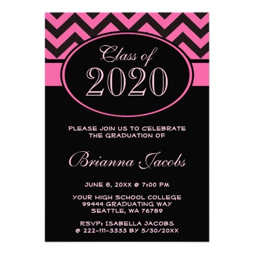 Black Pink Girls Chevron Pattern Graduation Personalized Announcement This trendy personalized girly graduation announcement invite features a classic modern black and pink chevron fashion pattern with pink text. Great to use for a high school, college or university grad.