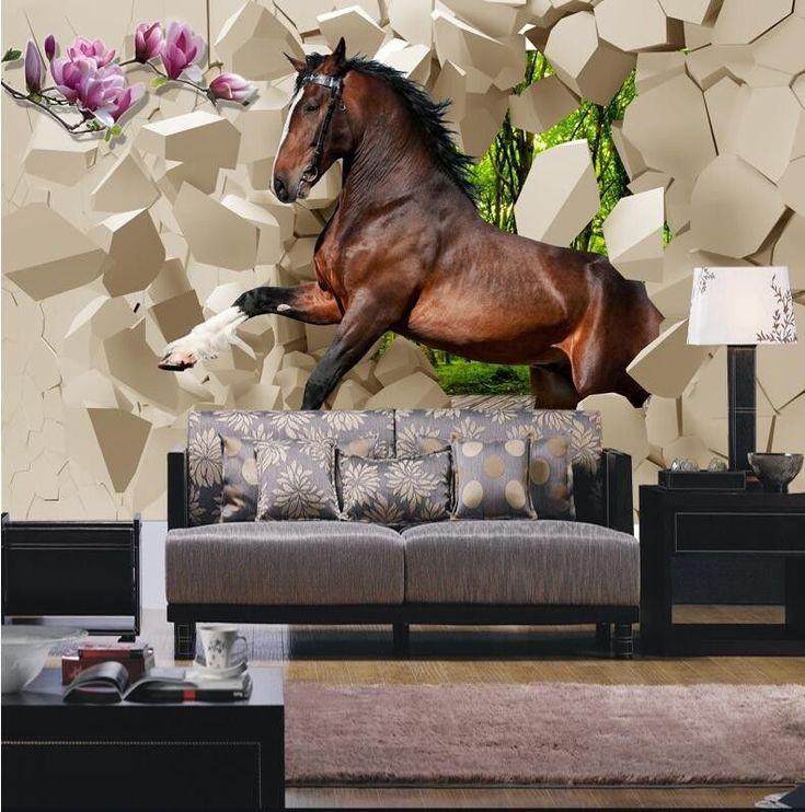 3D Wallpaper Bedroom Mural Modern Seamless Horses Galloping TV Wall Background #New bedroom ideas for Men
