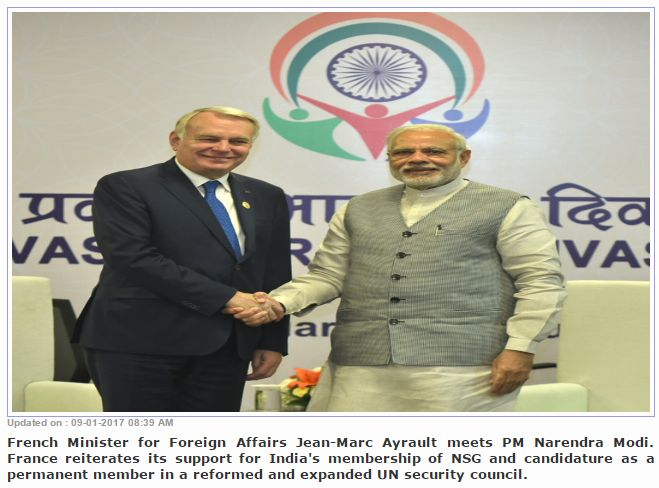 """France supports India's membership of UNSC  """"Seeking to give a greater momentum to the Indo-French strategic relationship, Prime Minister Narendra Modi and French Minister for Foreign Affairs Jean-Marc Ayrault on Sunday discussed a wide spectrum of issues, including defence and terrorism. Get Narendra Modi's & BJP's latest news and updates with - http://nm4.in/dnldapp http://www.narendramodi.in/downloadapp. Download Now."""""""