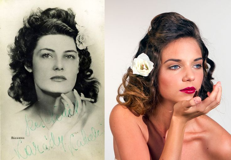 100 years of beauty Hungary: 1940s - Katalin Karády and the modell Ivett Szigligeti #100yearsofbeauty #100years #hair #hairstyle #makeup #hungary #fashion #style #katalinkarady #karadykatalin #karady #ivettszigligeti