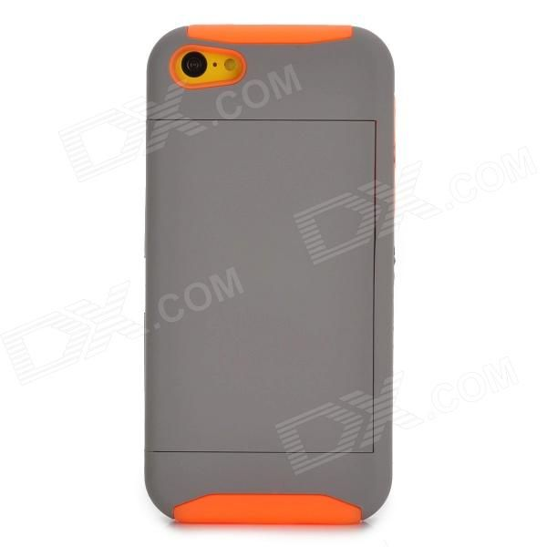Brand: N/A; Quantity: 1 Piece; Color: Grey + orange; Material: PC + silicone; Type: Cases with Stand; Compatible Models: Iphone 5C; Other Features: Protects your device from scratches dust and shock; Packing List: 1 x Protective case; http://j.mp/1ljJxVp