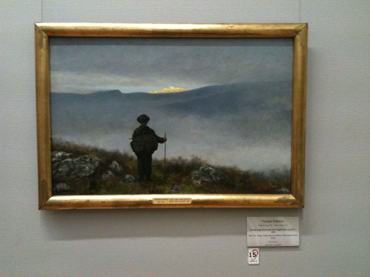 "Soria Moria by Theodore Kittlesen. When in Oslo, I came across this painting. It's an interpretation of a moment from a Norwegian fairy tale, when the protagonist crests a hill and sees the golden city, the object of his journey. It reminded me of arriving in Jerusalem, which I'd just done, days before. Scholars relate the name ""Soria Moria"" to the Old Testament's Moriah. Moriah is the location of the Temple Mount in Jerusalem, on which the Dome of the Rock now sits."