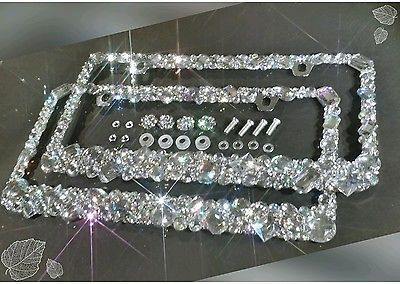 HANDMADE BLING RHINESTONES CRYSTALS LICENSE PLATE FRAME W/ SCREW CAPS DIAMOND