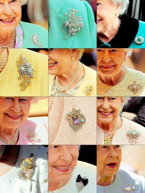 Source mymrharrywales. Queen Elizabeth II brooches