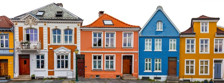 Colourful Houses in Panorama - Two picture in one