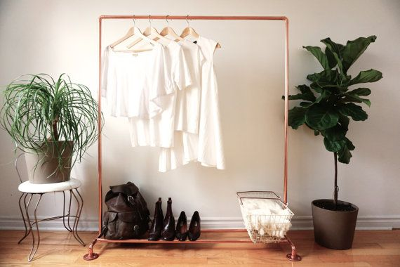 I wonder if I could DIY something similar to this for guest room.  Love it!  Copper Pipe Clothing Rack / Standard Garment Rack by ShopTheOther