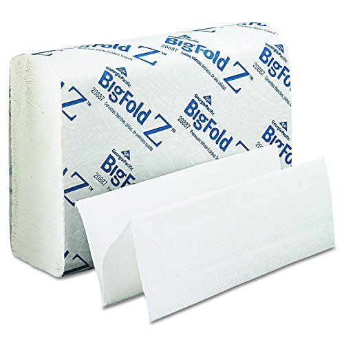 "Georgia Pacific Professional 20887 BigFold Paper Towels, 10-1/5"" x 10-4/5"", White (Pack of 10) - Towels dispense singly and fully open for more effective hand-drying. Fits existing C-Fold and C-Fold/Multi-Fold dispensers; no adapter needed. Premium single-ply sheets."